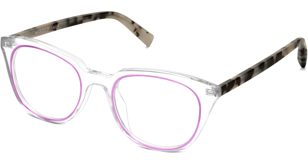 Warby Parker Chelsea- Crystal and Plum with Onyx Tortoise temples - Concentric Collection